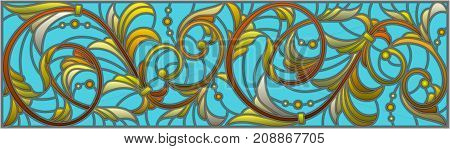Illustration in stained glass style with abstract swirlsflowers and leaves on a blue backgroundhorizontal orientation