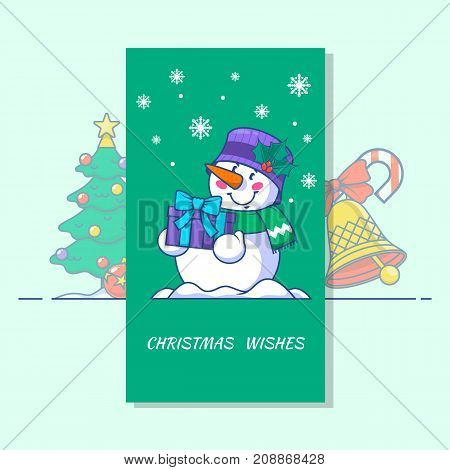 Snowman line vector icon.Merry Christmas patches collection. Christmas badges and symbols. such as Snowman Christmas bells Christmas tree
