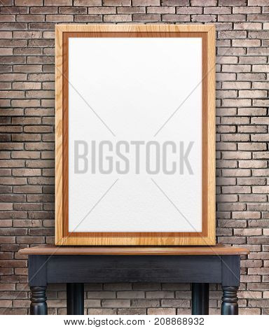 Blank Wooden Photo Frame Leaning At Grunge Brick Wall On Vintage Wood Table,template Mock Up For Add