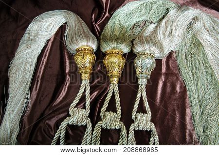 Beautiful Curtains tassel by curtain strap with sunlight for interior luxury house