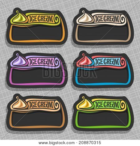 Vector set of Ice Cream Labels: 6 price tags with copy space for ice cream sale info, colorful vintage signs with lettering title - ice cream with black blank background, icons for cold italian gelato