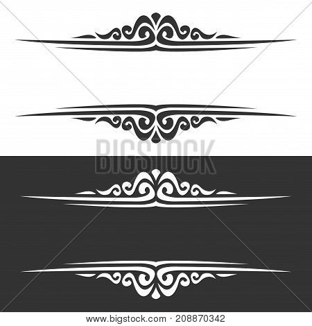 Vector monochrome borders for greeting text, black and white frames of victorian style for wedding title, ornate decoration with flourishes for business presentation, vintage baroque design element.