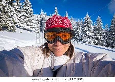 Smiling Woman, Traveler, In A Goggles, Taking Selfie
