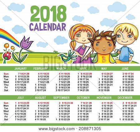 Vector calendar 2018 year. Colorful floral poster with little children friends book magnifying glass birds clouds and sky. Summer playground. Week starts from Sunday. Place for your text