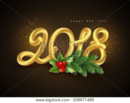 3d golden numeric 2018 with fluid effect. Christmas new year concept dark background. Vector illustration.