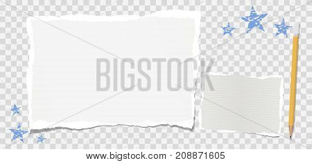 Ripped note, notebook paper stuck on spotted squared background with blue stars and pencil