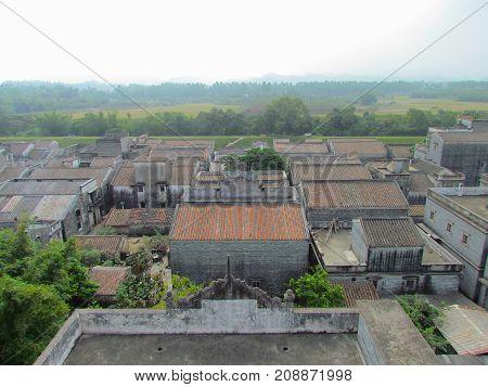 Kaiping Diaolou aerial view of Jinjiangli village in Chikan Unesco world heritage site Guangdong China