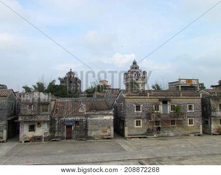 Kaiping Diaolou view of Jinjiangli village and watchtower in Chikan Unesco world heritage site Guangdong China