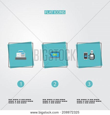Flat Icons Computer, Remote Paying, Till And Other Vector Elements