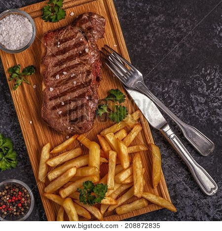 Beef Barbecue Steak With French Fries.