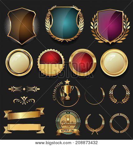 Golden Shield Laurel Wreath And Badge Retro Design Collection 6.eps