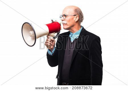 Handsome Old Man Making Announcement In Mega Phone On White Background