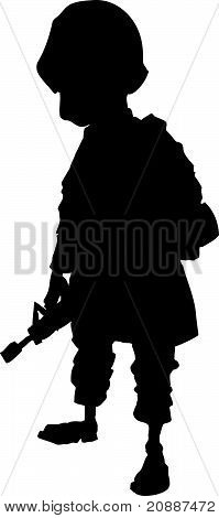 Cartoon american soldier silhouette
