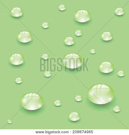 water drops set isolated on green background