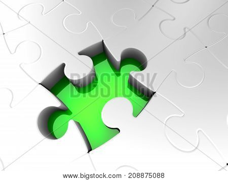 Last Puzzle Piece Not Complete Jigsaw Solution Green Hole in White Pieces