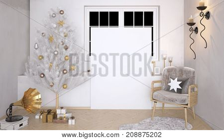 Retro interior with phonograph and shining Christmas tree. 3D illustration. poster mock up