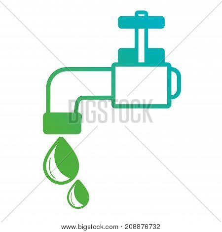 line faucet with drops water to environment care vector illustration