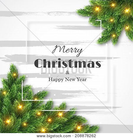 Merry Christmas and happy new year design fur-tree decoration with glowing lights and white frame. Vector illustration.