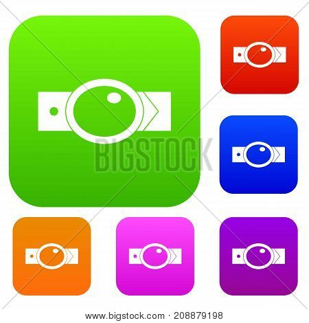 Belt with oval shaped buckle set icon color in flat style isolated on white. Collection sings vector illustration