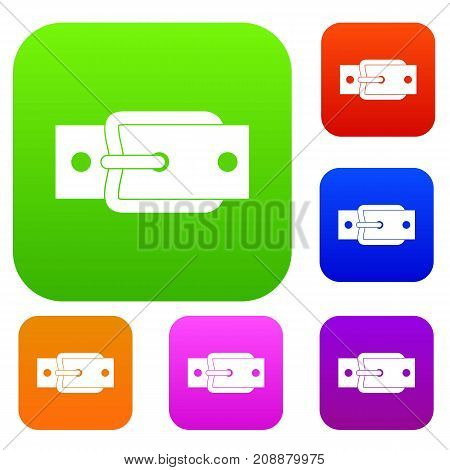 Metal belt buckle set icon color in flat style isolated on white. Collection sings vector illustration