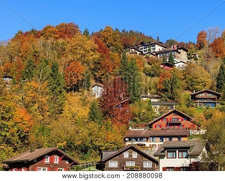 View of the town of Engelberg in Switzerland in autumn. Engelberg is an alpine resort town in the Swiss canton of Obwalden.