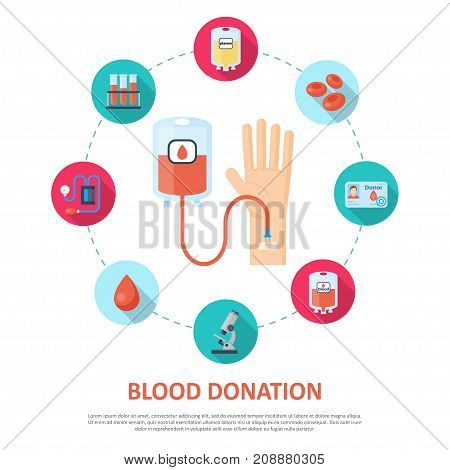 Blood donation template. Voluntarily drawn, used for transfusions, plasma or platelet product. Vector flat style cartoon illustration isolated on white background