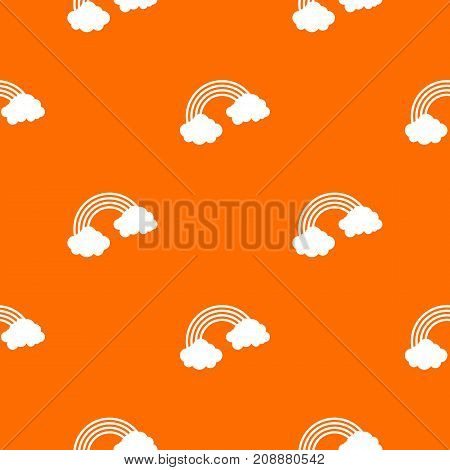 Rainbow pattern repeat seamless in orange color for any design. Vector geometric illustration