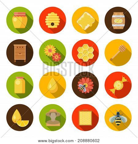 Honey apiary set. Bee farming, pure and natural products, flower pollen, proplis and medical plants. Vector flat style cartoon illustration isolated on white background