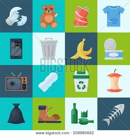 Household and waste. Recycling centre for leftover house products, garbage and rubbish, bottles, cans, clothing, compost, disposables, food packaging, scraps. Vector flat style cartoon illustration