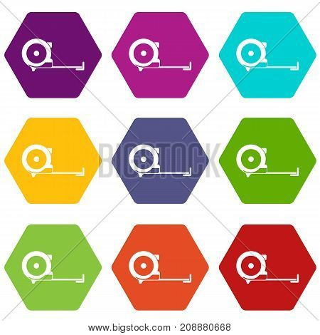 Construction roulette icon set many color hexahedron isolated on white vector illustration
