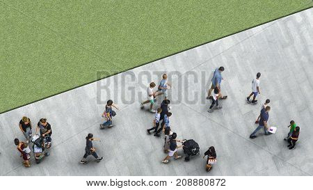 people walk on the pedestrian street walkway with the teenage young man and the group of family with little child with the greenfield landscape. (Aerial urban city photo)