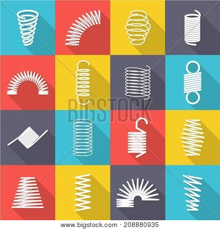 Metal spiral set. Binding systems, range of sizes, colours and pitches, jump over obstacles. Vector flat style cartoon illustration