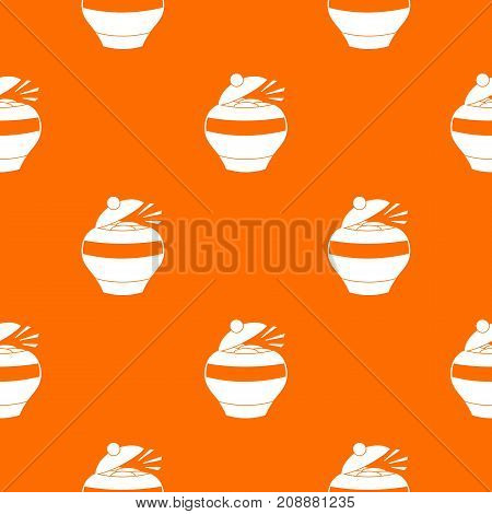 Pot full of gold coins pattern repeat seamless in orange color for any design. Vector geometric illustration