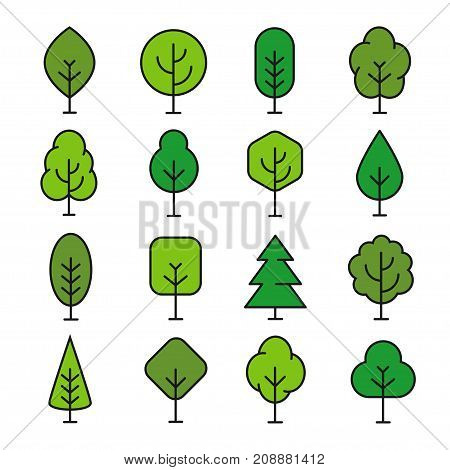 Green tree outline. Nature and ecology, environmental landscaping, outdoor growing sign. Vector line art illustration isolated on white background