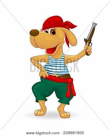 A dog in a pirate costume. Pirate dog cartoon.