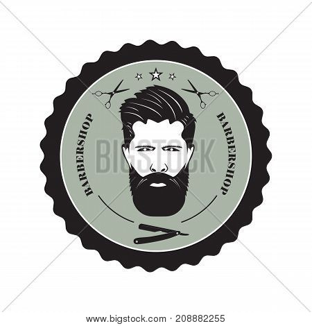 The mans face with a beard symbolizing a Barber shop. Items of hairdressing equipment.