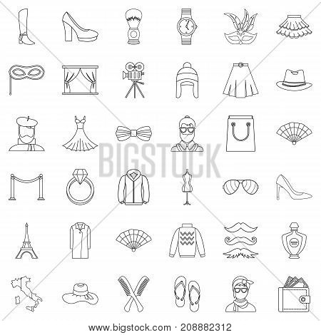 Model icons set. Outline style of 36 model vector icons for web isolated on white background