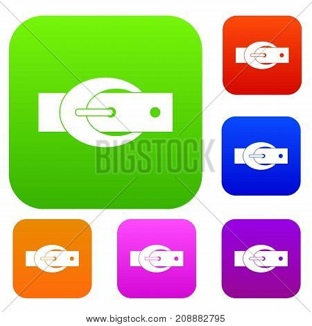 Oval belt buckle set icon color in flat style isolated on white. Collection sings vector illustration