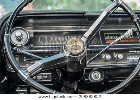 Cadillac Coupe Deville 1964 Interior - Steering Wheel With Logo And Dashboard