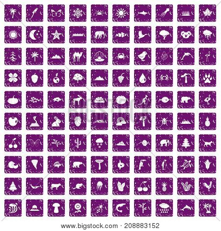 100 nature icons set in grunge style purple color isolated on white background vector illustration