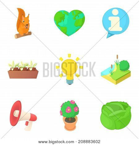 Care of the planet icons set. Cartoon set of 9 care of the planet vector icons for web isolated on white background