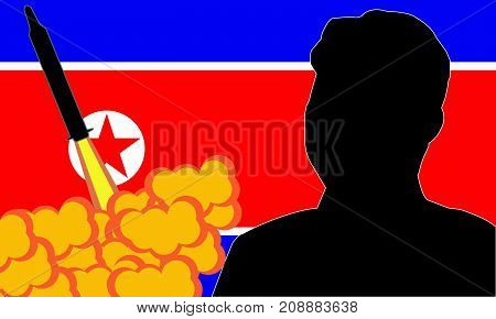 September, 2017: Kim Jong-un North Korea's supreme leader, North Korea launching ballistic missile.vector