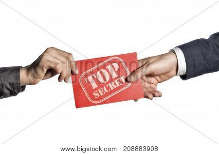 Transfer of secret documents between people. Red envelope with stamp