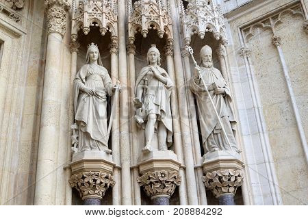 Statues at the facade of the Cathedral of the Assumption of the Blessed Virgin Mary Zagreb Croatia poster