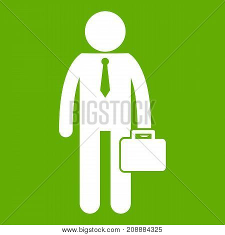 Businessman standing with his briefcase icon white isolated on green background. Vector illustration