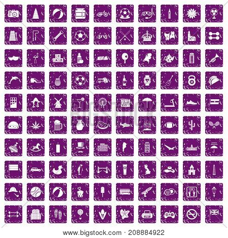 100 ball icons set in grunge style purple color isolated on white background vector illustration