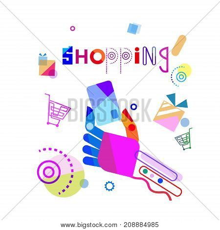 Shopping Banner Abstract Hand Holding Credit Card Vector Illustration