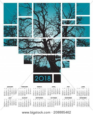A 2018 tree and nature calendar for print or web use