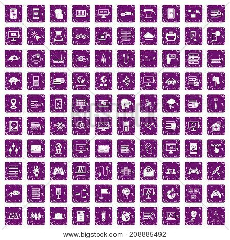 100 network icons set in grunge style purple color isolated on white background vector illustration