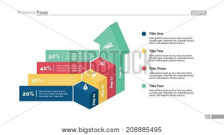 Four steps percentage chart and stairs. Business data. Growth, diagram, design. Concept for infographic, presentation, report. Can be used for topics like analysis, statistics, finance.